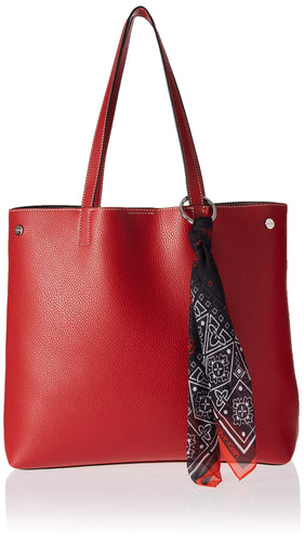 Calvin Klein Rachel Vegan Leather Novelty Tote, red