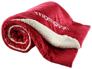 berry bebe Sherpa Throw Blanket Personalized Red, Large Size 50x60 Reversible Fuzzy Microfiber All Season Blanket for Bed or Couch, College Dorm Graduation Gift for The Whole Family ... ...