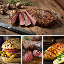 Load image into Gallery viewer, Chicago Steak Meal Set- Indulge your taste buds with the Ultimate Gourmet Grilling Assortment - Includes Savory Ribeye, Top Sirloin Steak, Angus Steak Burgers, & Lemon Herb Chicken Breasts- Finely Age