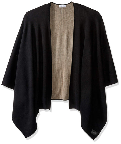 Calvin Klein Women's Reversible Solid Shawl, black/heathered almond, O/S