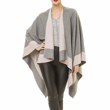Load image into Gallery viewer, Women's Shawl Wrap Poncho Ruana Cape Cardigan Sweater Open Front for Fall Winter (Gray Pink)