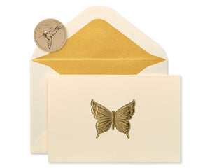 Papyrus Gold Butterfly Boxed Blank Note Cards, 16-Count