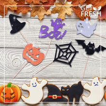 Load image into Gallery viewer, Get Fresh Halloween Cupcake Toppers Set, 14pcs Sparkly Set, Bat Witch Ghost Star, Baby Shower Food Picks Decor, Cupcake Halloween Party Picks, Halloween Cupcake Decorations