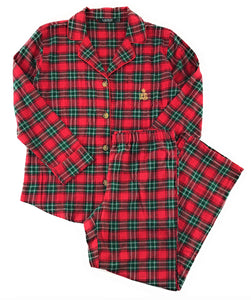 Lauren by Ralph Lauren Womens Flannel Pajama Set Large Red Green Plaid
