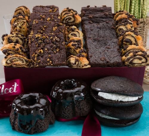 Gourmet Chocolate Lovers Brownie Ganache Bakery Collection Prime Deliver Holiday Gifts Filled with: Chocolate Bundts, Brownies, Whoopee Pies, Rugelach, great gourmet gift basket!