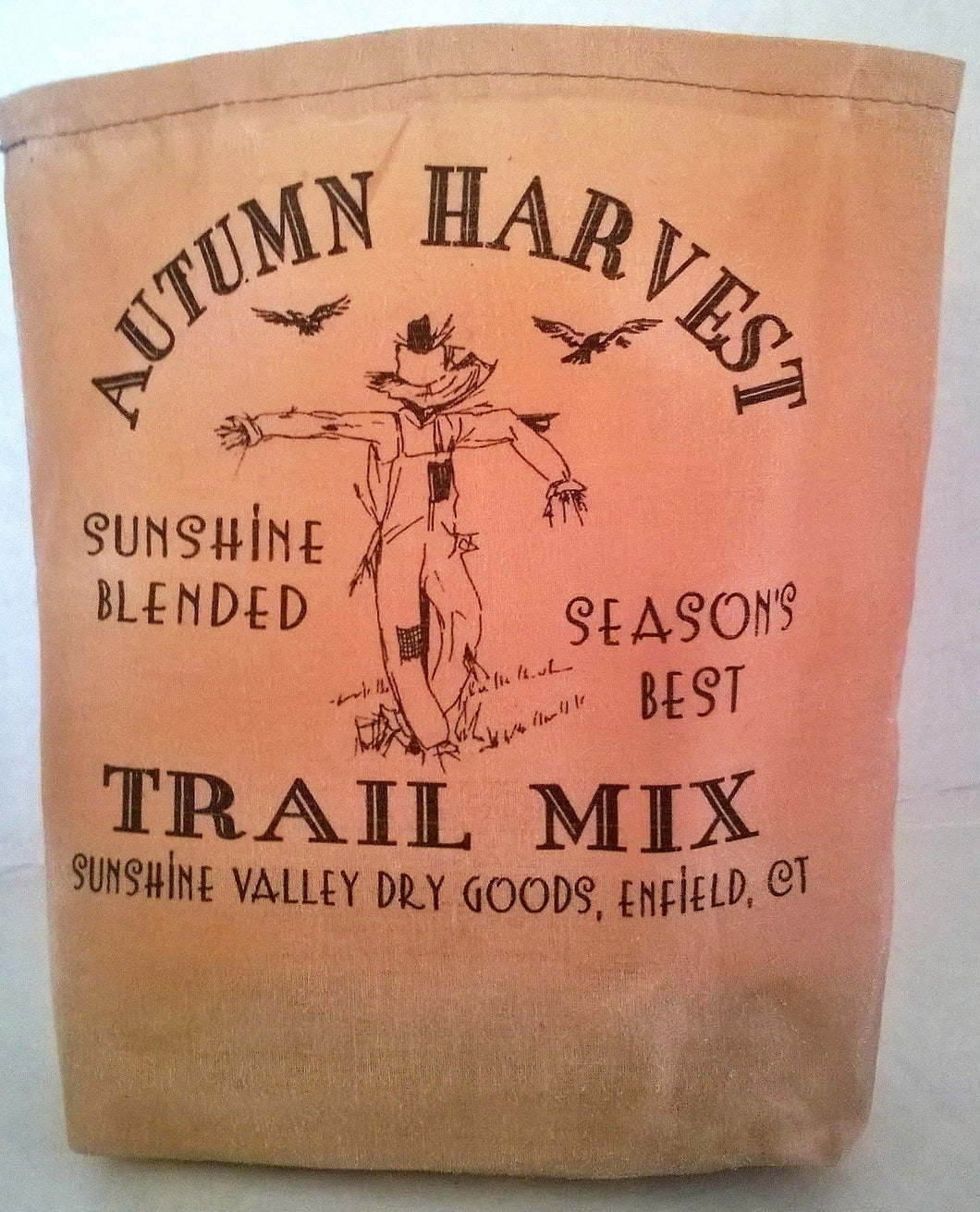 000 - Autumn Harvest Trail Mix Fabric Feed Sack Luminary Bag with Country, Primitive, Vintage Image. Battery Operated Flickering Candle and Candle Holder Included.