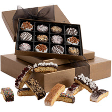 Load image into Gallery viewer, Barnett's Chocolate Cookies & Biscotti Gift Basket Tower, Unique Holiday Gourmet Cookie Gifts, Christmas Food Idea For Him Her Corporate Men Women Families Thanksgiving Valentines Fathers Mothers Day
