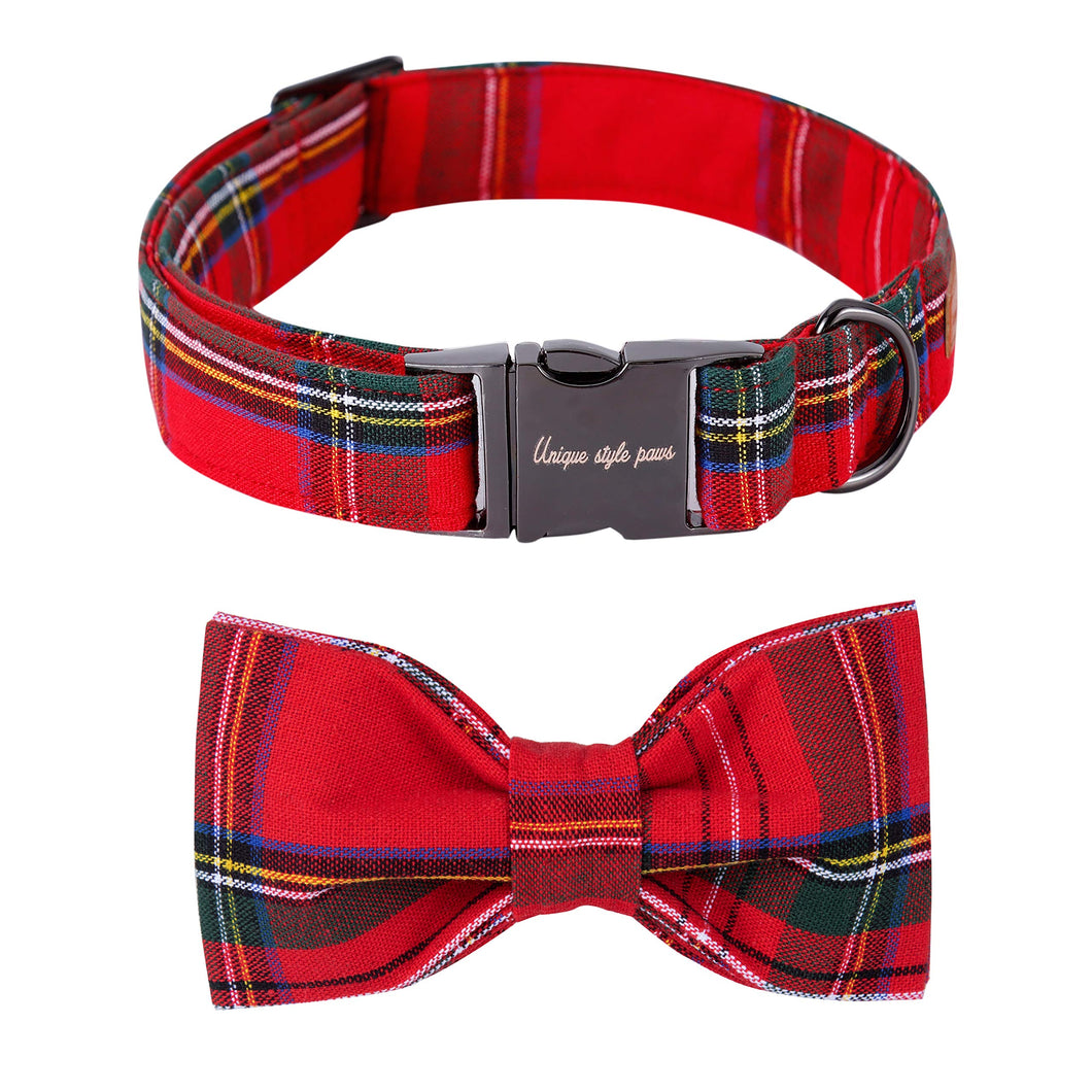 Unique style paws USP Christmas Adjustable Handmade Bowtie Dog and Cat Collar Pet Gift for Small Dogs and Cats