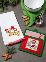 Load image into Gallery viewer, DII Pup Cotton Christmas Holiday Dish Towel and Pot Holder, Perfect for Kitchen Cooking and Baking, Puppy Gift Set, 2 Pieces
