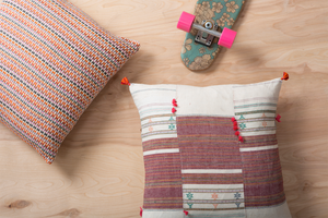 Pink Multi Orange Woven Pillow, Red Block Multi Stripe Pillow with Tassels