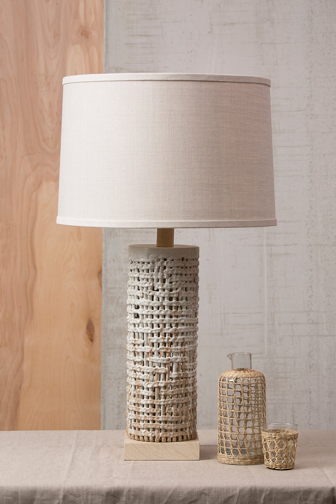Tall Basket Weave Lamp