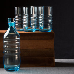 Spa Aqua Glass Water Bottle & Highball Glasses Set of 4