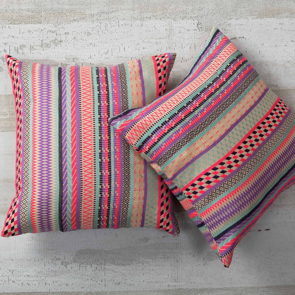 Pink & Lavender Striped Woven Pillow