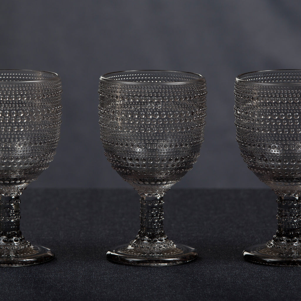 Lumina Smoked Glass Goblet Set