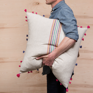 Multi Stripe Pillow with Tassels