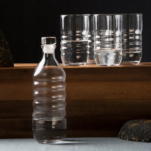 Spa Clear Glass Water Bottle & Highball Glasses Set of 4