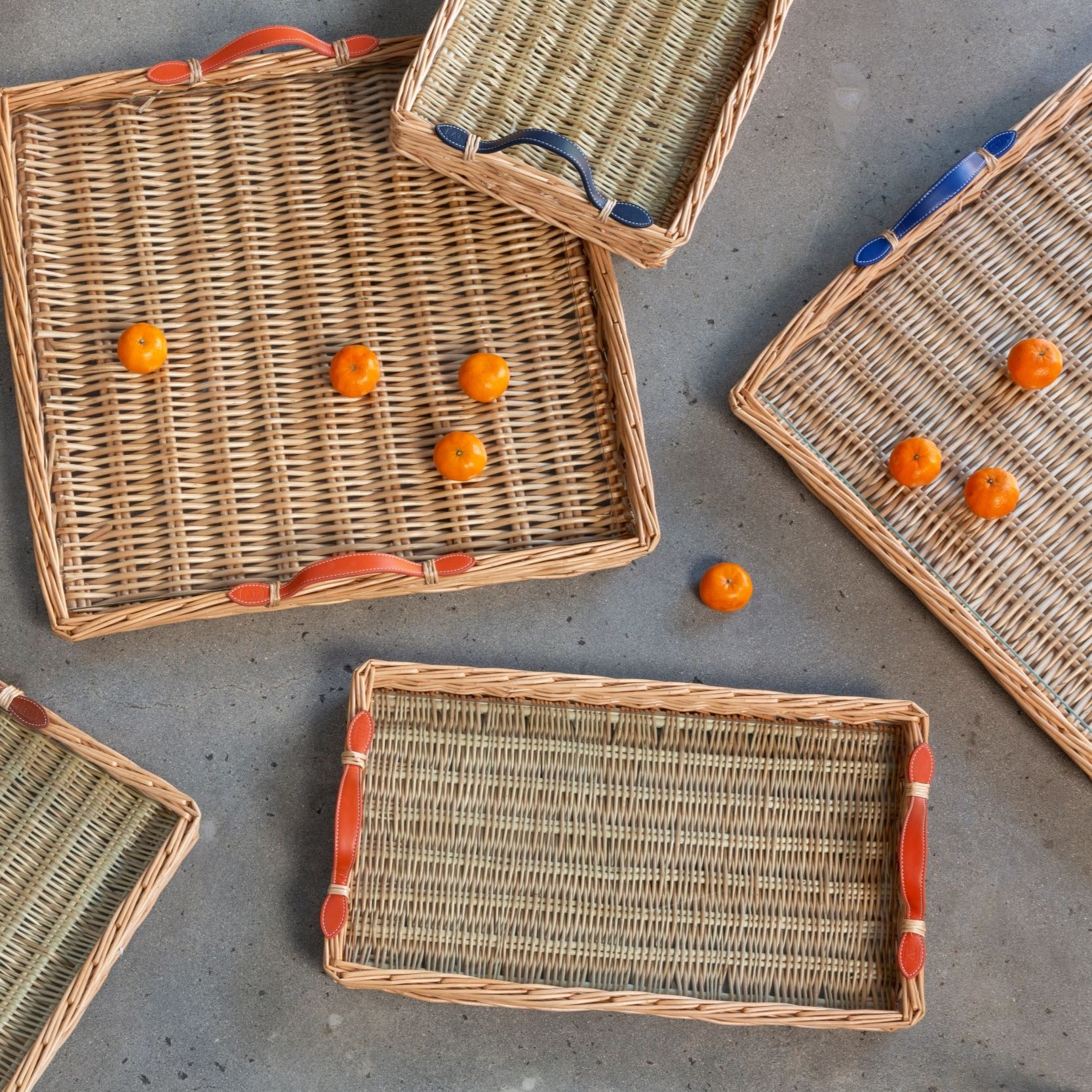 Wicker Trays with Leather Handles