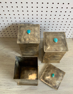 Hand Stamped Box with Turquoise Stone