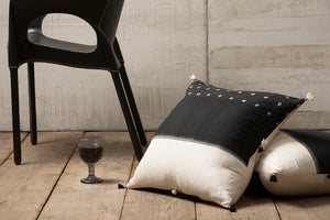 Black & Cream Pillow with Tassels