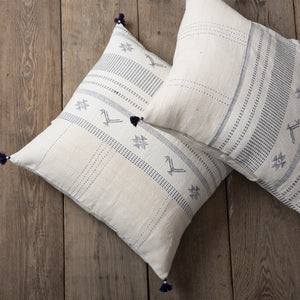 Navy & Cream Woven Pillow w/tassels