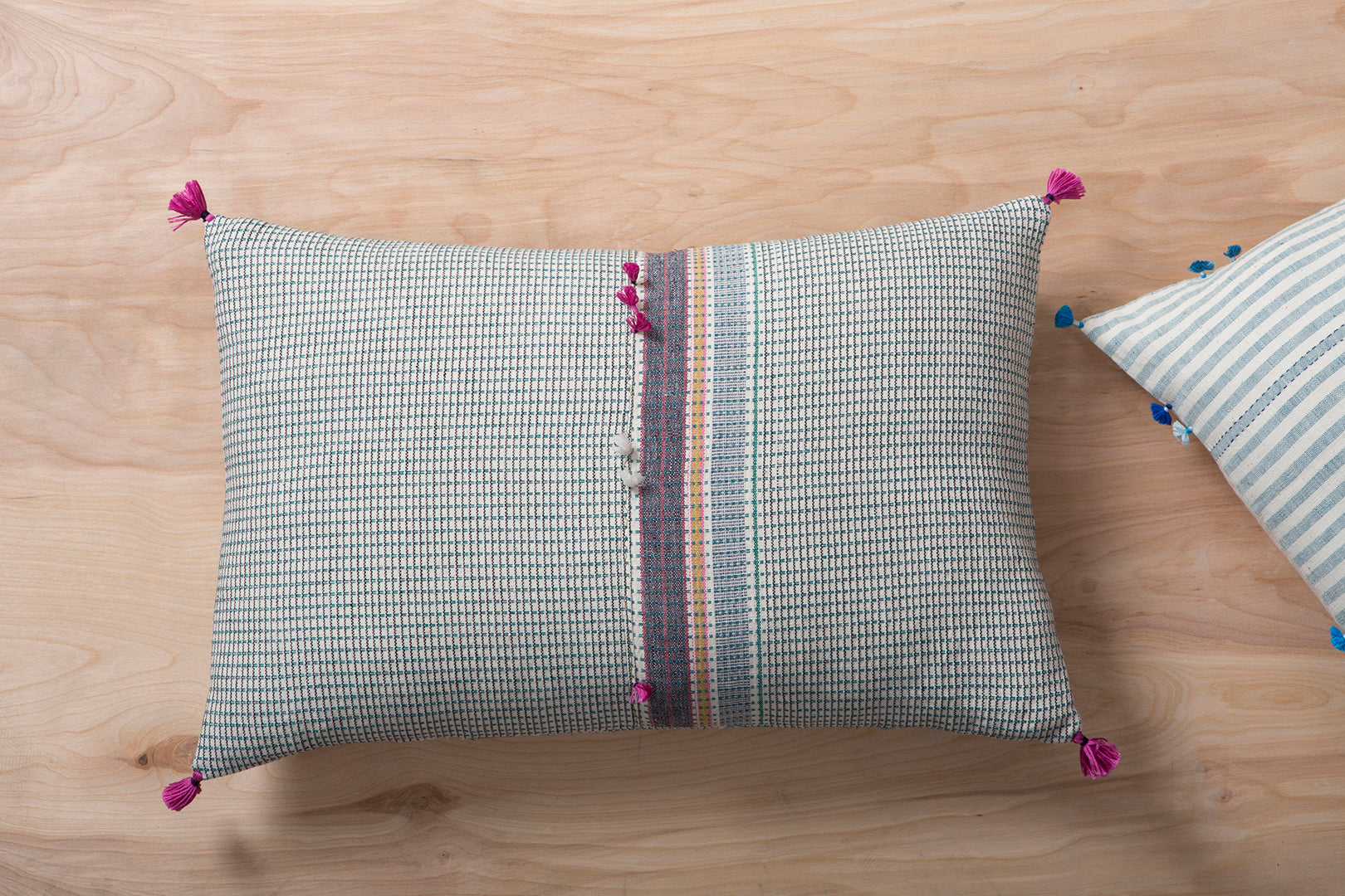 Striped Grid Pillow with Tassels