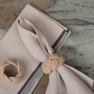 Natural & Black Linen Napkin S/4