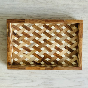 Mango & Sheesham Wood Cross Weave Tray