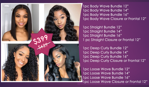 4 Full Heads Bundle Deals - Straight, Body Wave, Deep Curly, Loose Wave