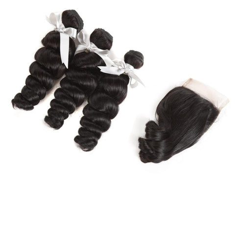 8A Virgin Loose Wave 2 or 3 Bundles With 4x4 Lace Closure-Liyah Hair