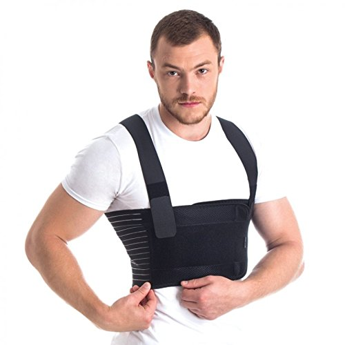 Male Rib Belt/Men's Chest Support - Elastic Breathable Brace Black X-Small