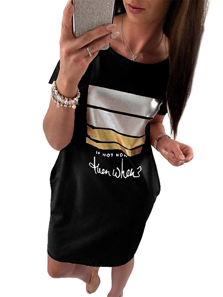 Women's Girls Sexy Punk T-Shirt Dress Printing Hole Short Skirt Top Tees