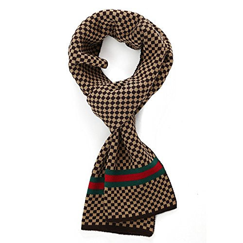 Scarf Knitted Gentlemen Dress Scarf Fall and Winter Unisex Scarf (Coffee&Camel)