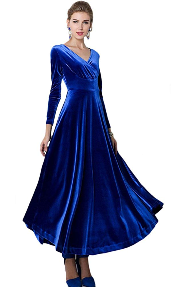 CoCo Women Long Sleeve V-Neck Velvet Stretchy Long Dress