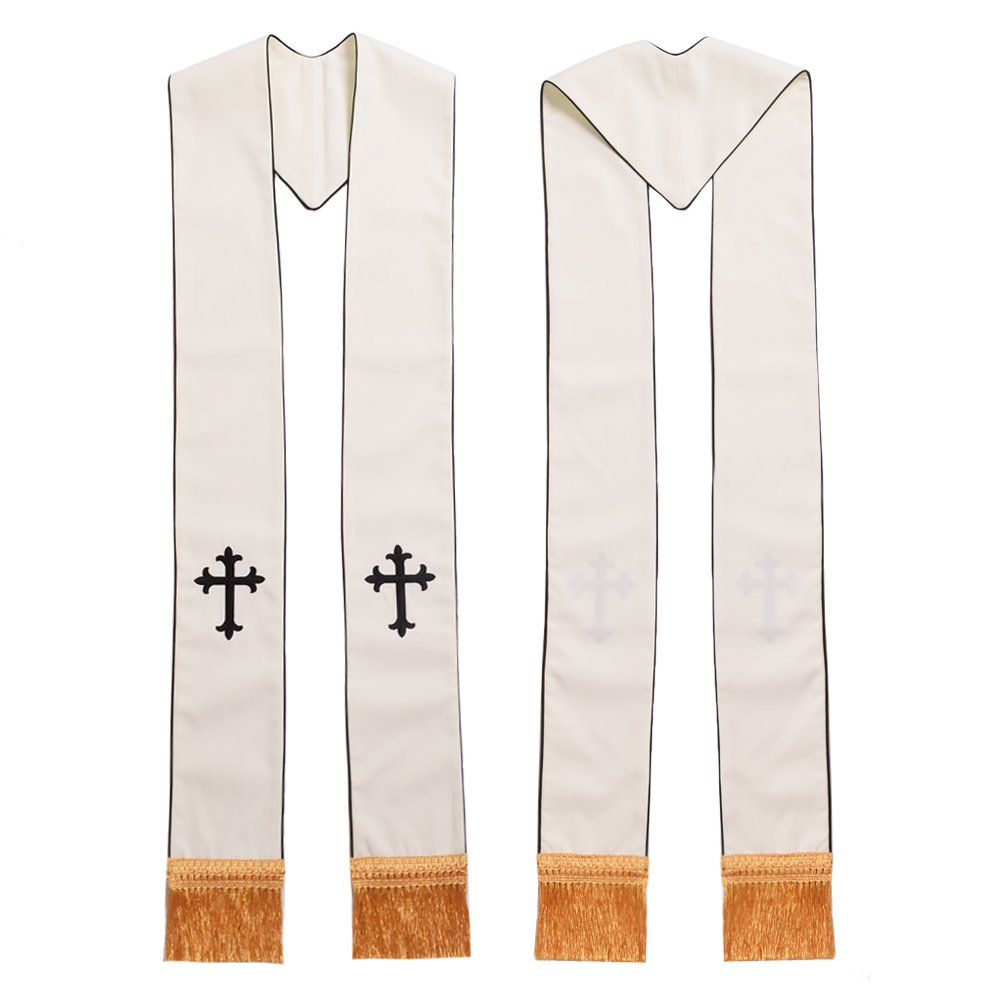 1PC Clergy White Stole