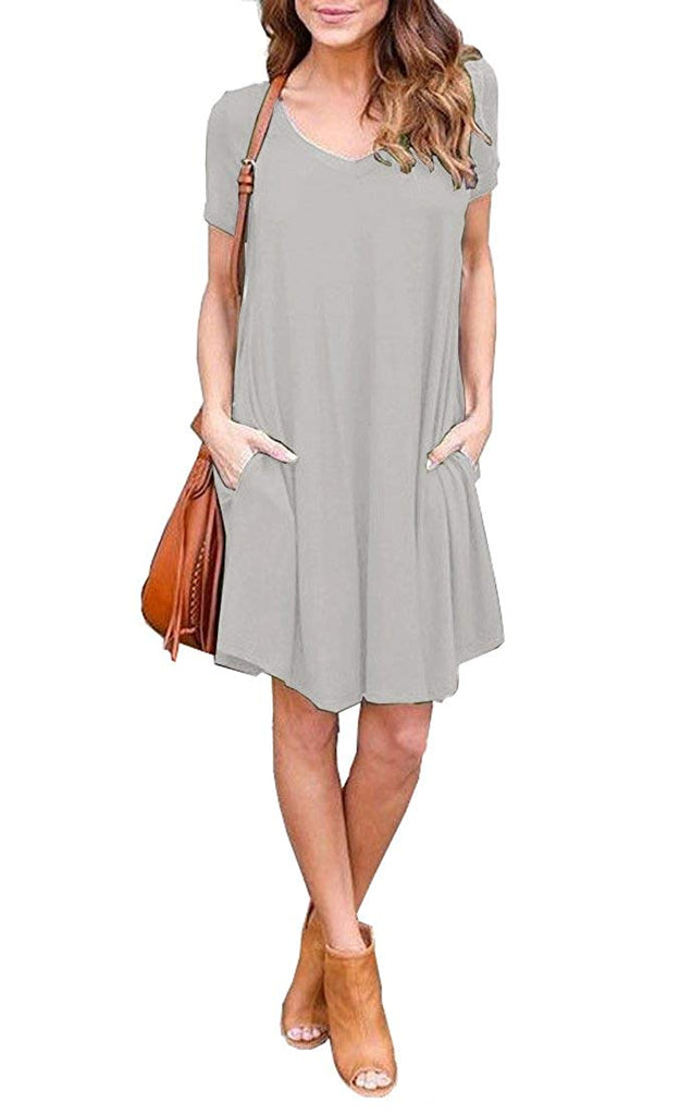 Women's Pockets Casual Plain Flowy Simple Swing T-Shirt Loose Dress