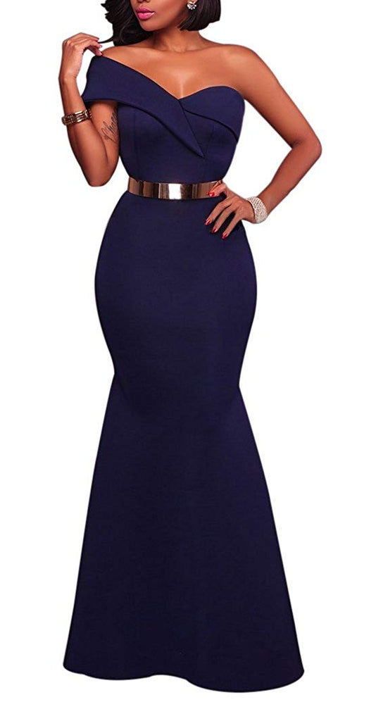 Sexy One Shoulder Ponti Gown Mermaid Evening Maxi Party Dress