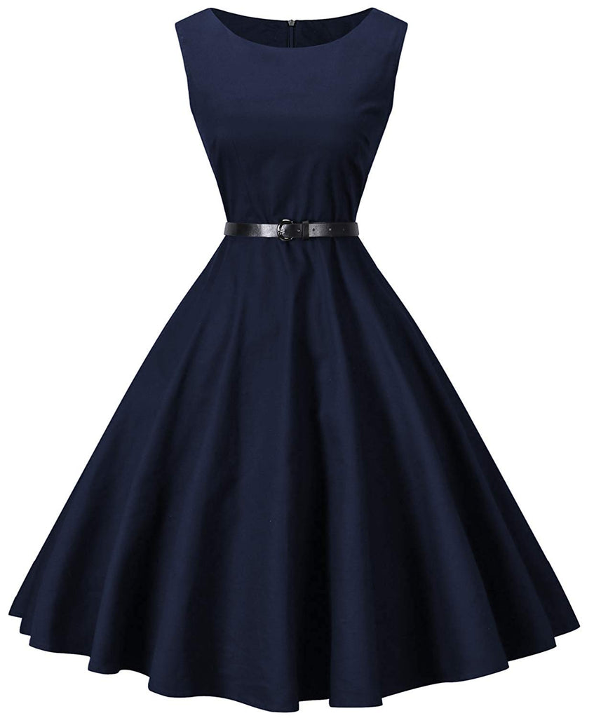 Womens Boatneck Sleeveless Vintage 1950s Retro Rockabilly Prom Tea Dress with Belt