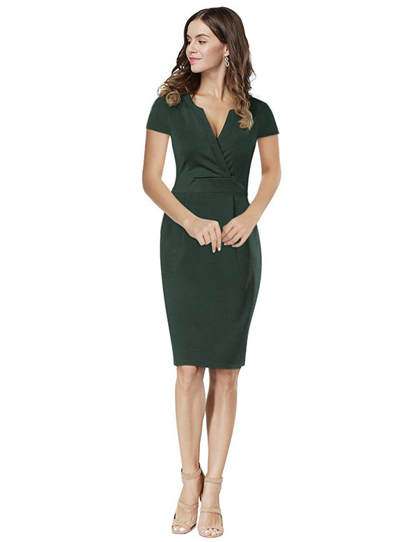Women Vintage V-Neck Office Work Business Party Bodycon Pencil Dress