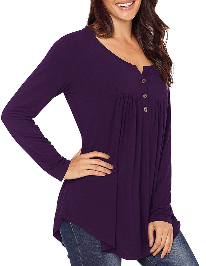 Long Sleeve V Neck Tops Pleated Front Button Tunic Tops Henley Shirts
