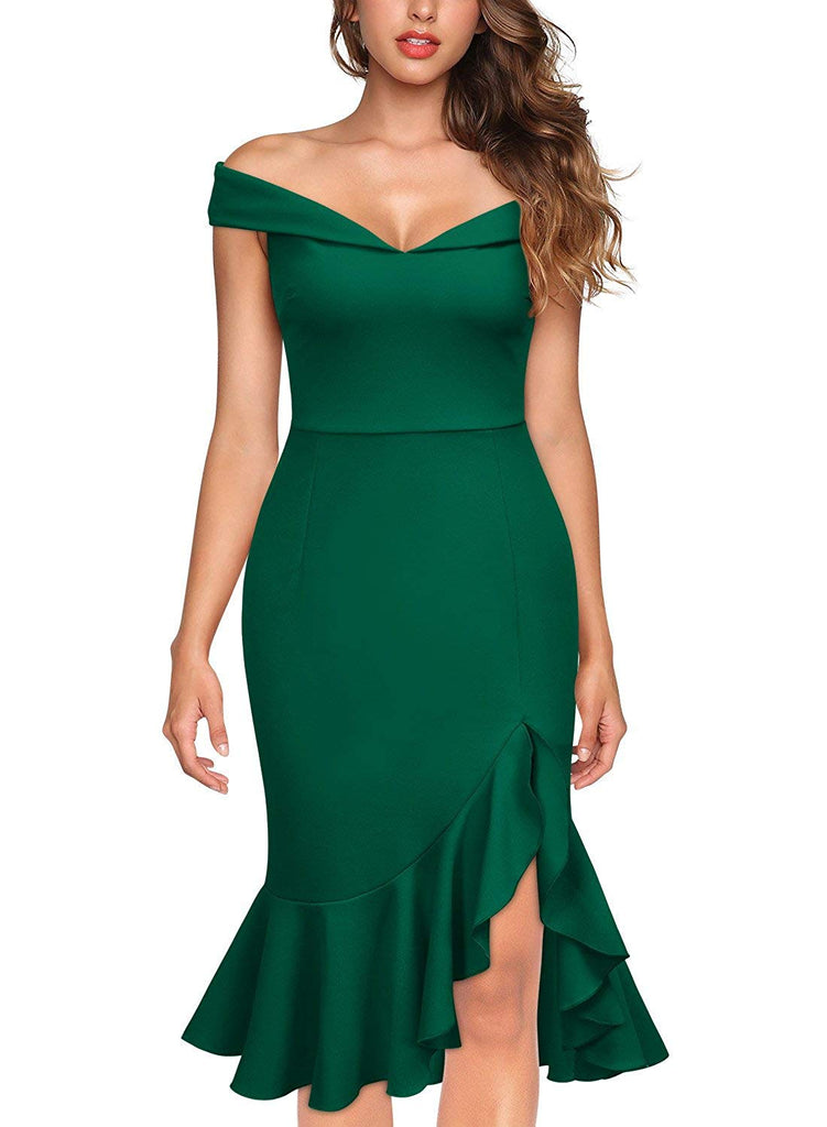 Women's Off Shoulder Elegant Slim Style Evening Party Dress