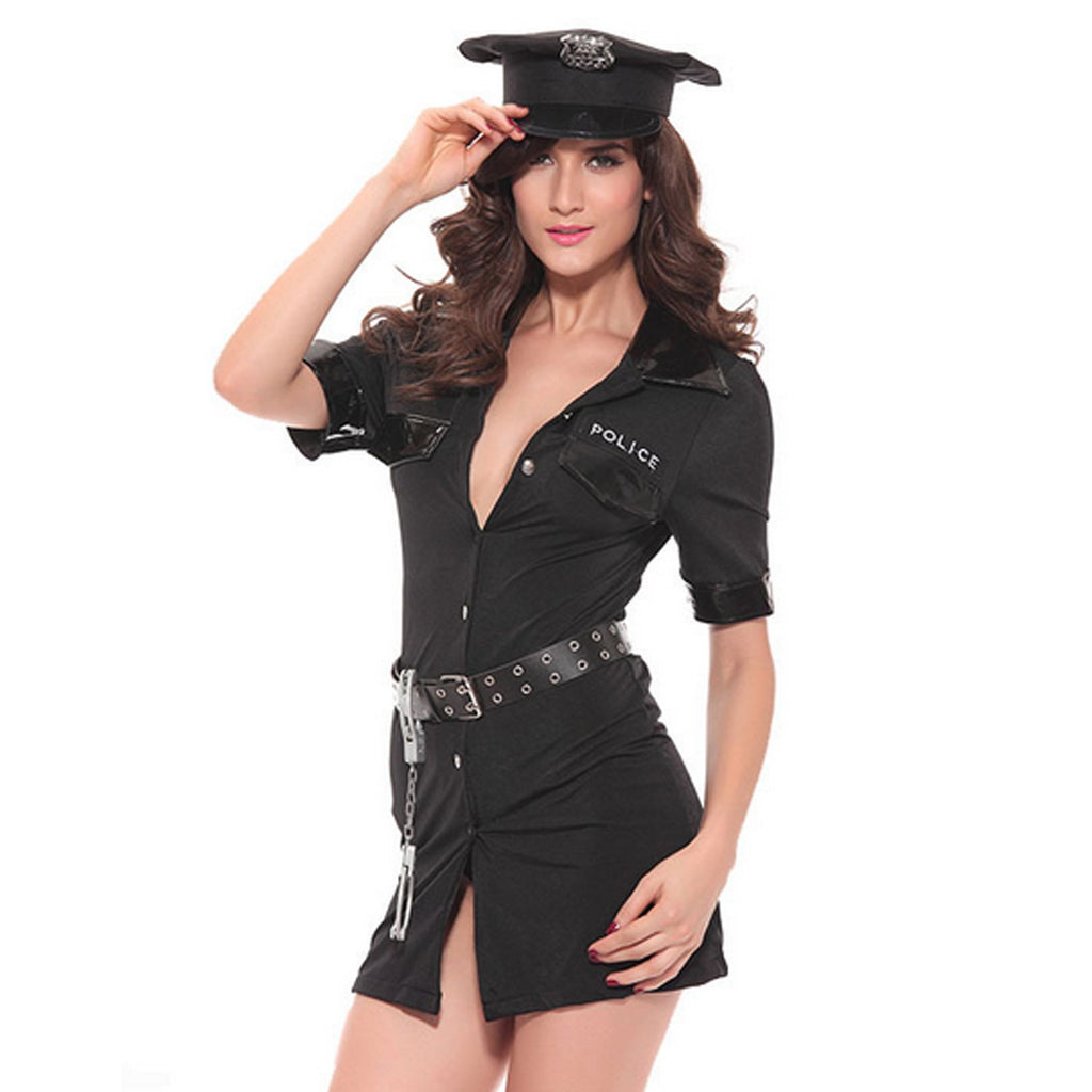 Women's Sexy Police Uniform Dirty Cop Officer Masquerade Clothes with Handcuffs Costume