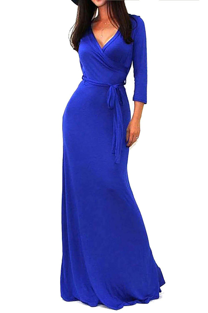 Women's Solid V-Neck 3/4 Sleeve Faux Wrap Waist Long Maxi Dress