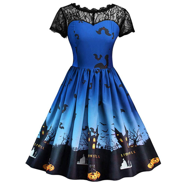 Halloween Dress, Forthery Women Pumpkin Skater Swing Dress A-line Lace Skull Dress