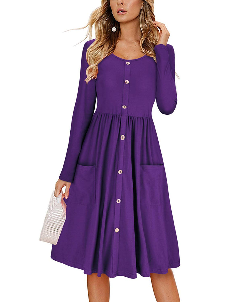 Women's Dresses Long Sleeve Casual Button Down Swing Dress with Pockets