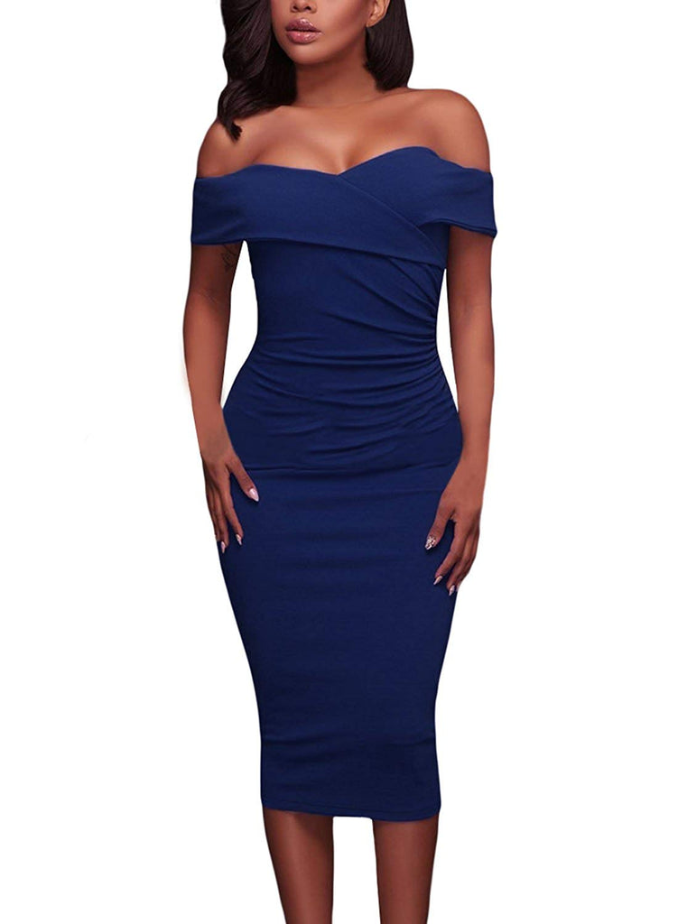 Women's Sexy Ruched Off Shoulder V Neck Bodycon Club Midi Dress
