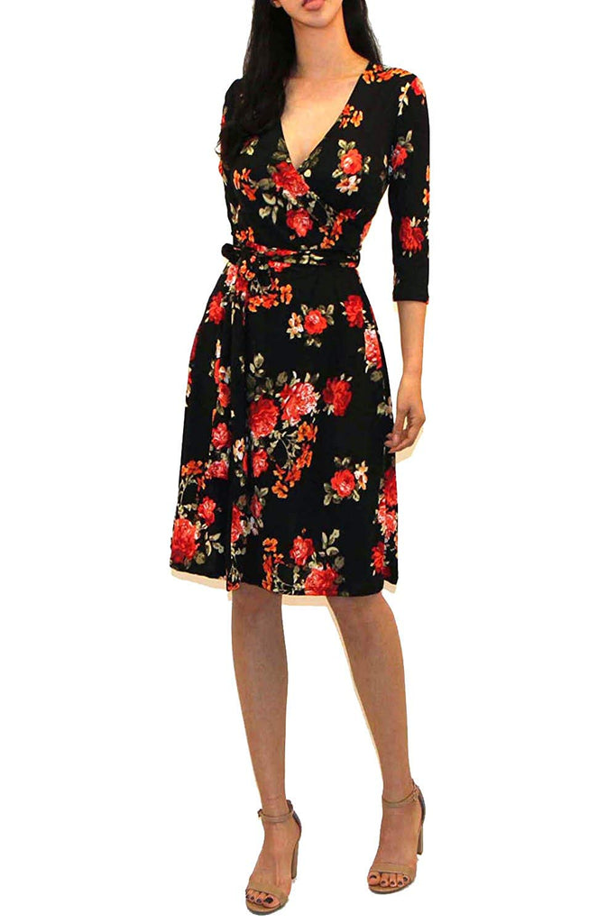 Women's Printed V-Neck 3/4 Sleeve Faux Wrap Waist Tie Midi Dress