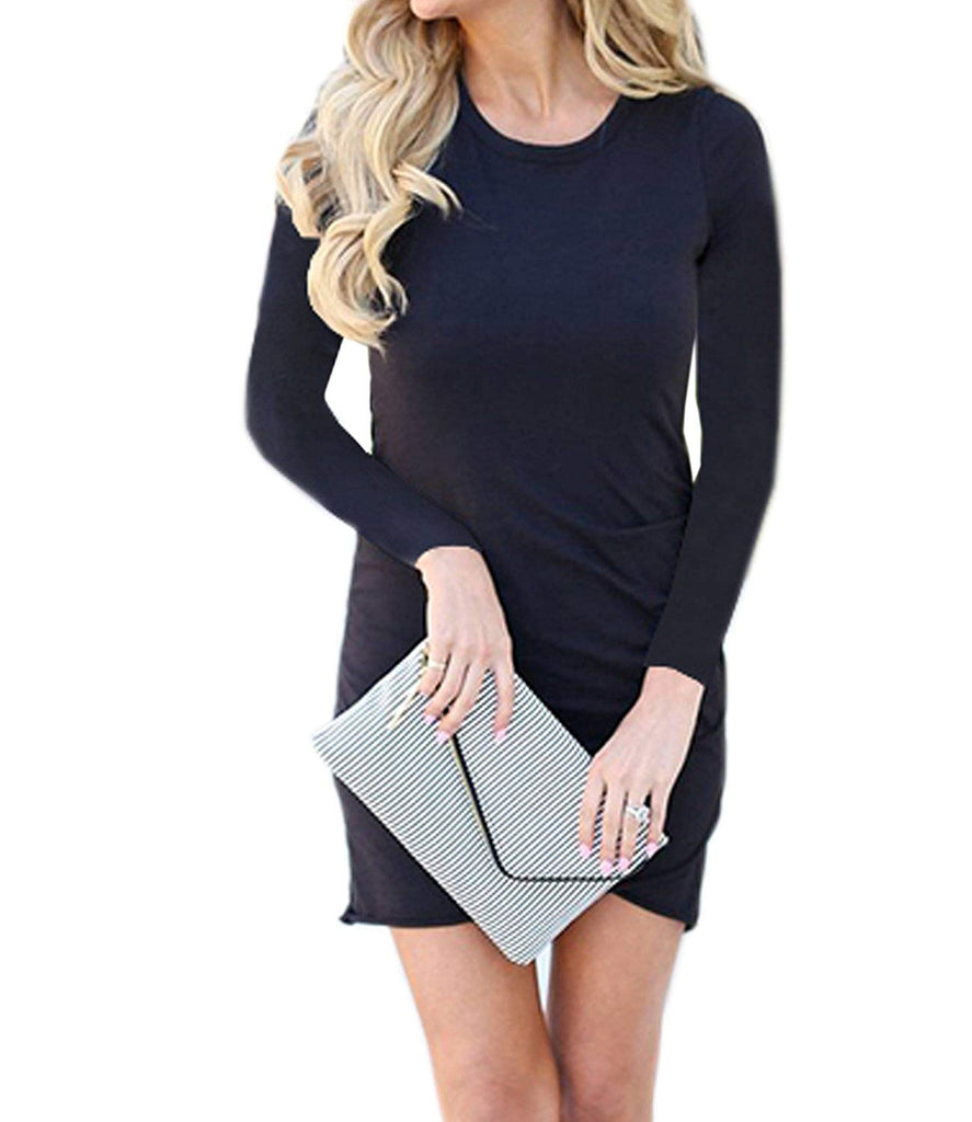 Women's Long Sleeve Tulip Bodycon Dress Ruched Short Mini Dresses