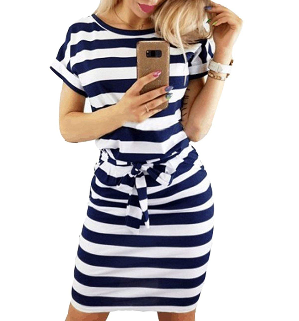 Women's Casual Short Sleeve Knee Length Belted Dress with Pockets