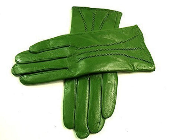 Leather Emporium Women's Gloves Fur Lined Stripe Detail Slim Fit