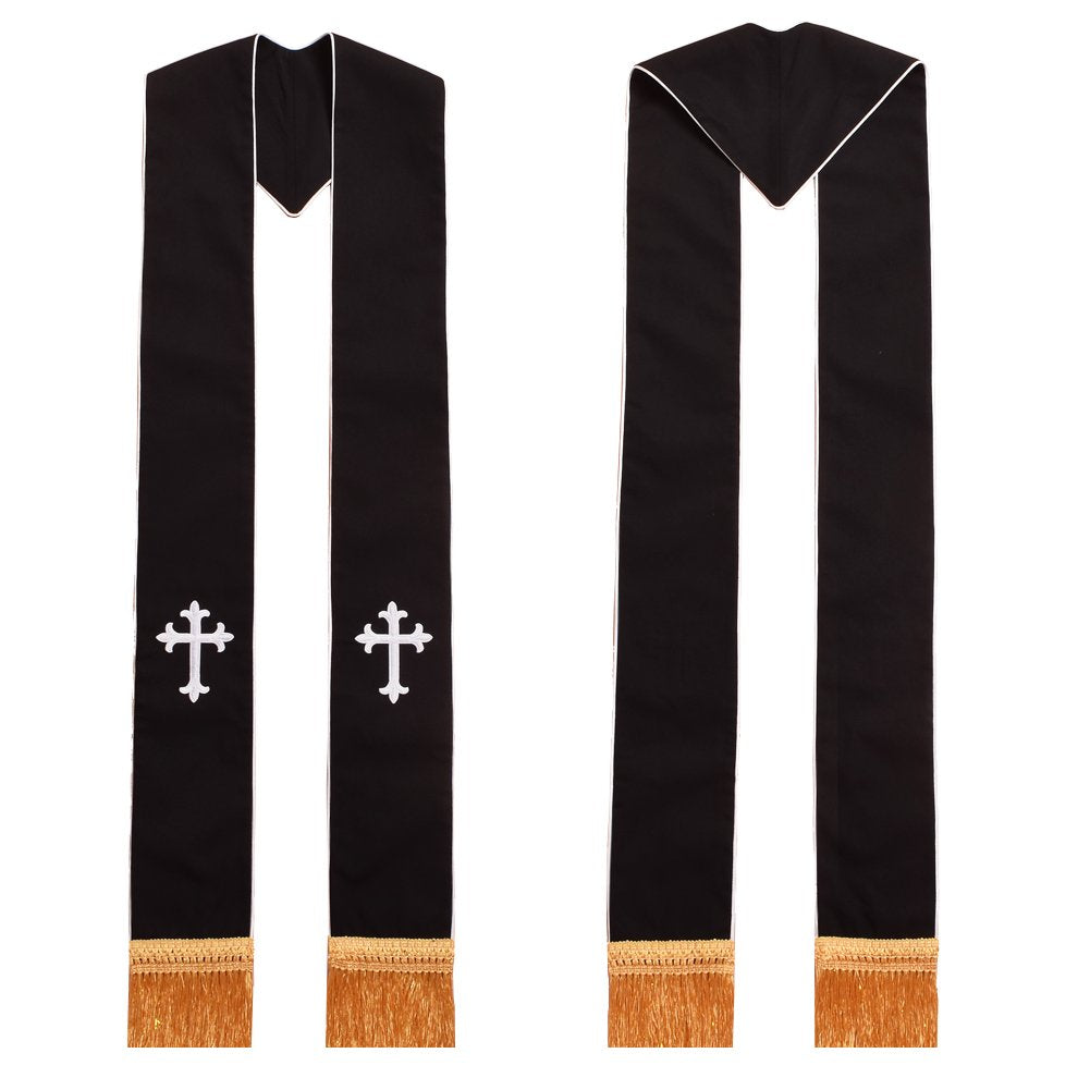 Clergy Black Stole Cross Embroidered 1pc